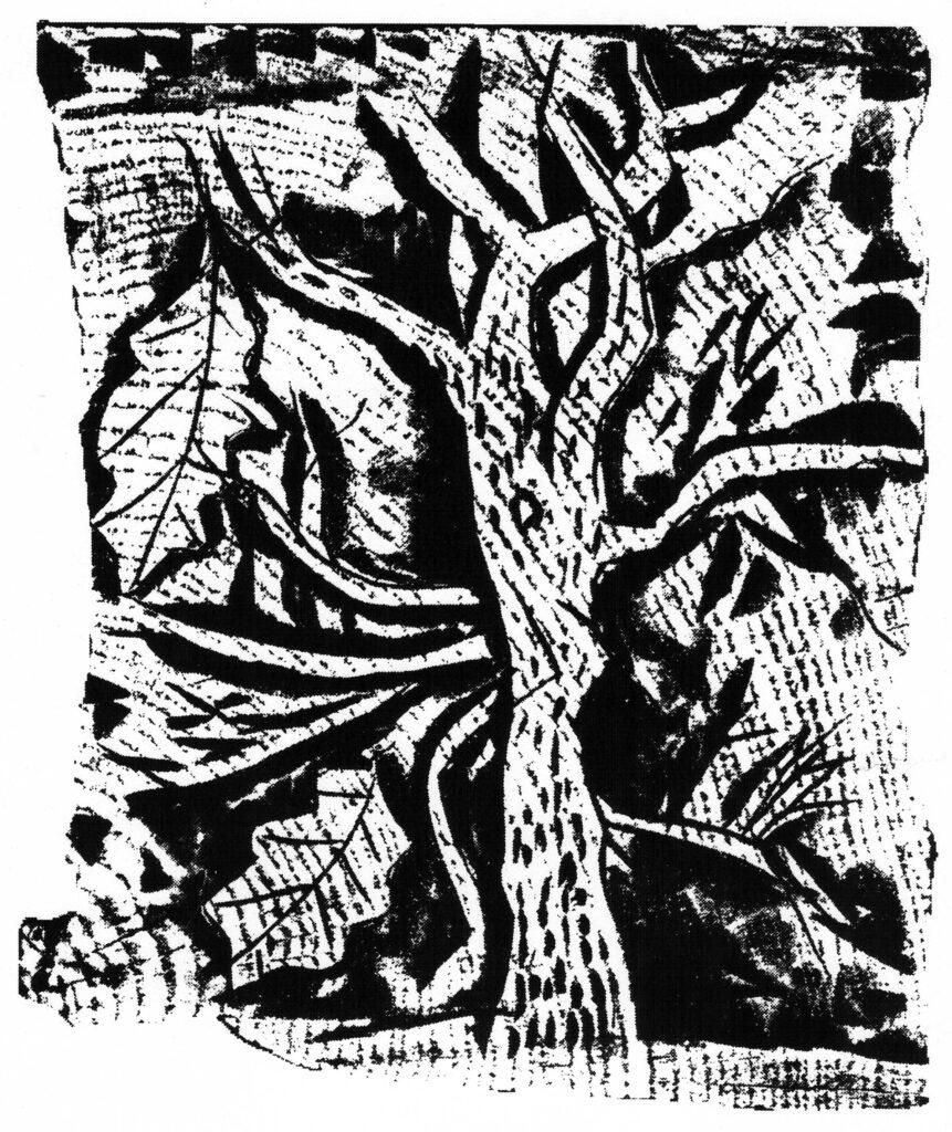 Holzschnitt eines Baumes